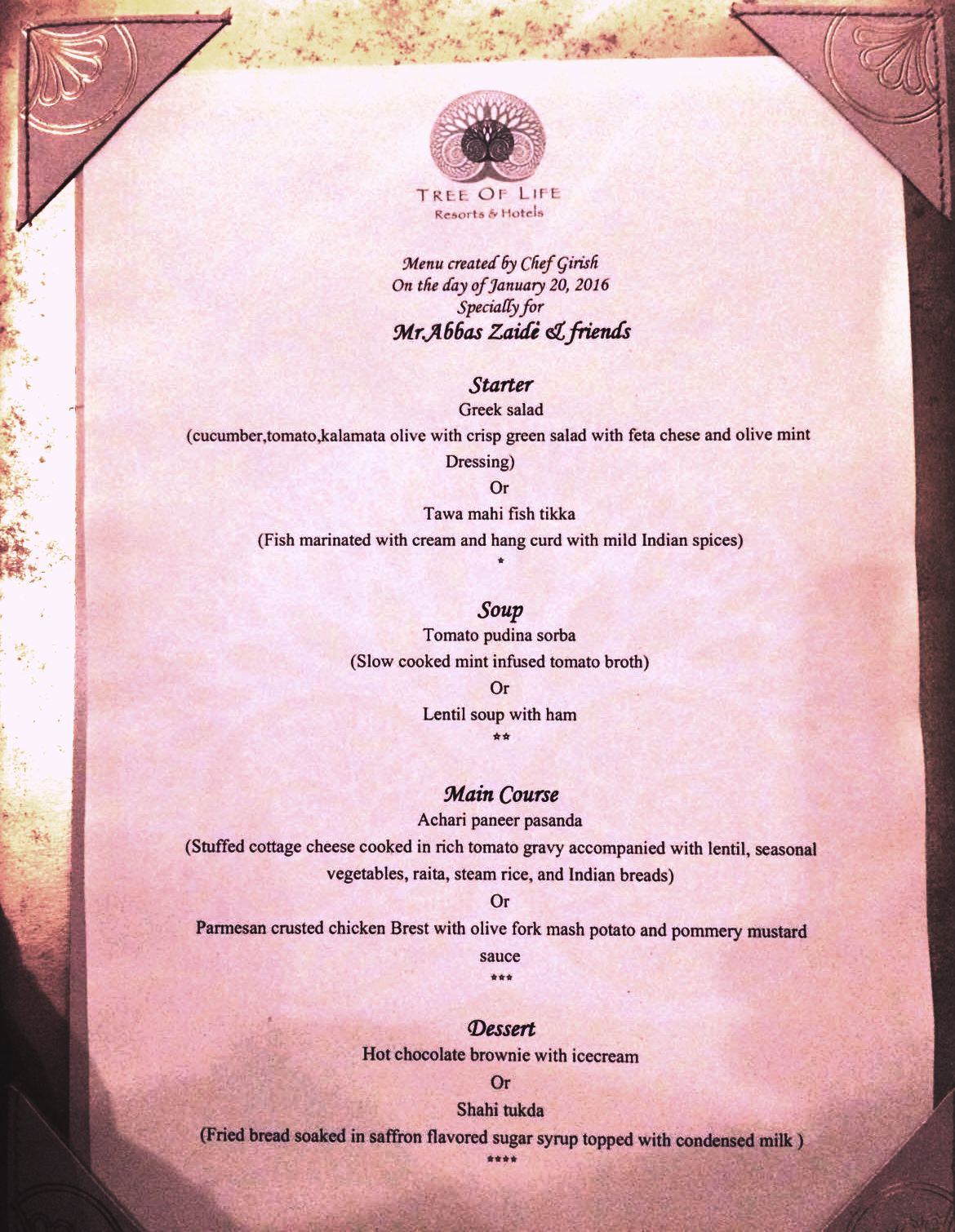 Personalized Meal service at Tree Of Life Jaagir Lodge