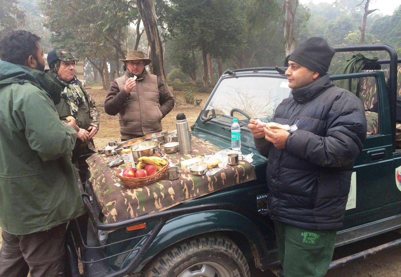 Taking Breakfast during jeep safari in Dudhwa